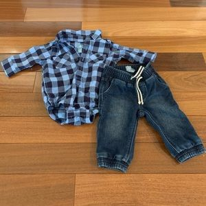Baby gap super soft denim and polo onesie 3-6 mo